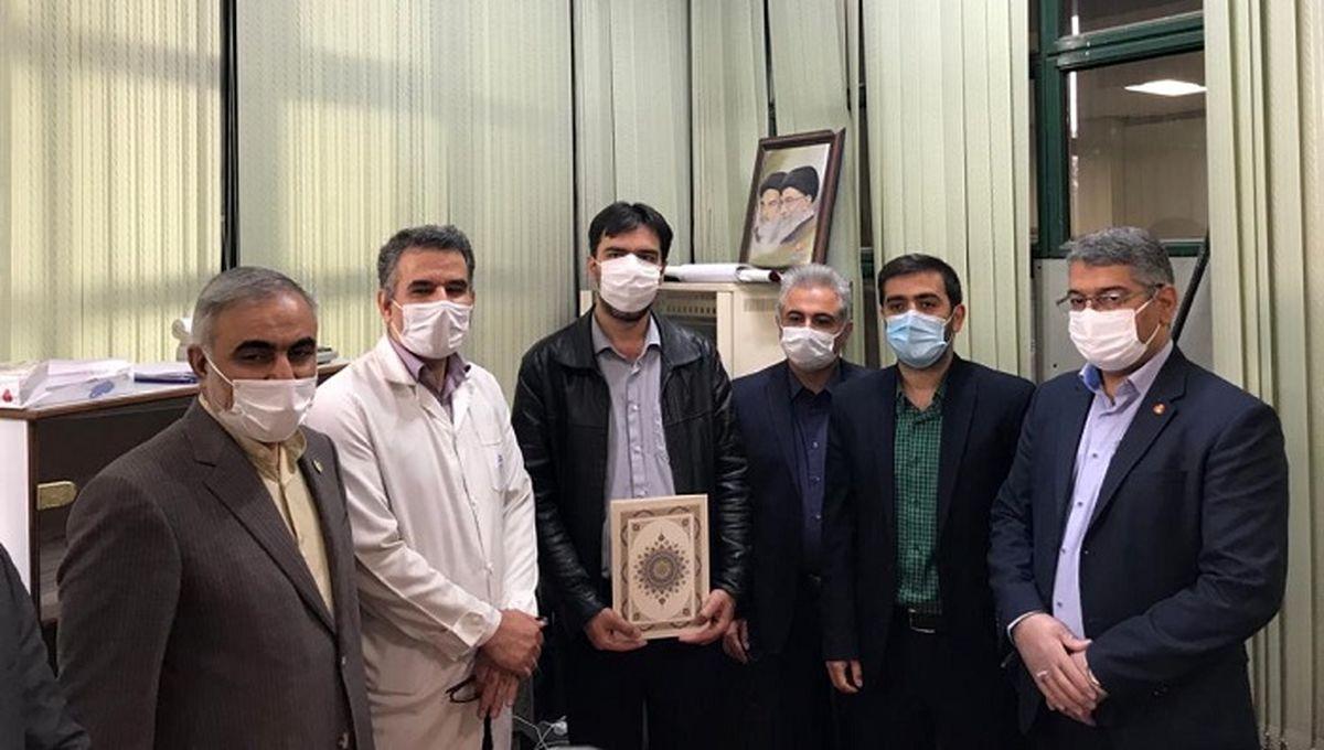 برپایی میزخدمت حوزه مقاومت بسیج بانک ملت در بیمارستان امام خمینی(ره)