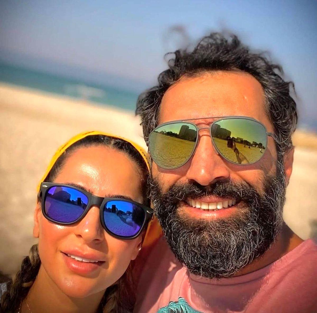 هادی کاظمی و سمانه پاکدل لب ساحل / ماجرای لباس نامتعارف چیست + عکس دونفره
