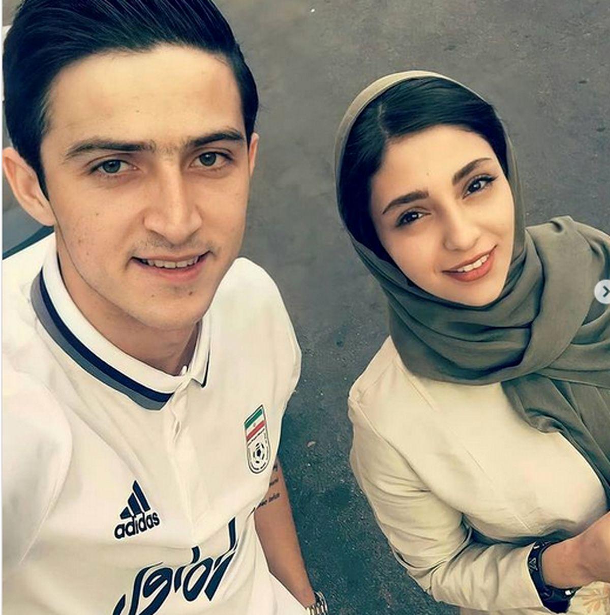 سردار آزمون و همسرش در لباس دامادی + عکس